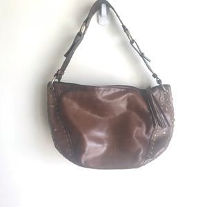 Nordstrom Brown Shoulder Bag Purse Brass Accents